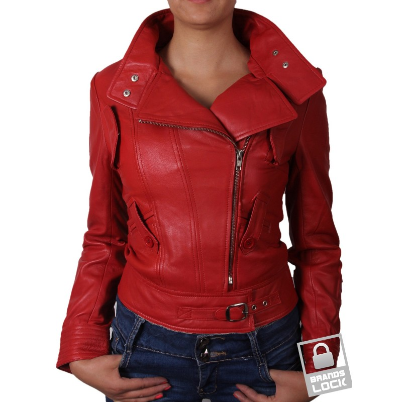 ladies red leather jacket - photo #1