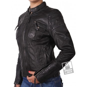 Women Black Leather Biker Jacket _ Jessie