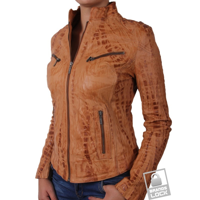 Women Croc Tan Leather Biker Jacket - Ciara