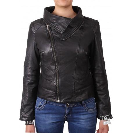 Ladies Black Leather Biker Jacket - Charm