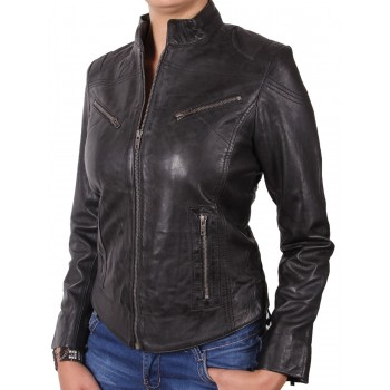 Ladies Black Leather Biker Jacket - Hazel