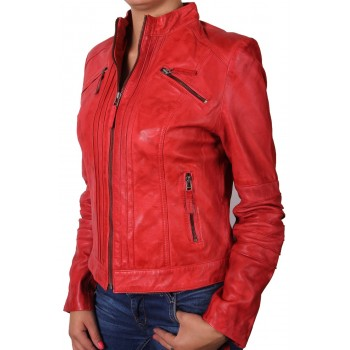 Ladies Red Leather Biker Jacket - Sophie