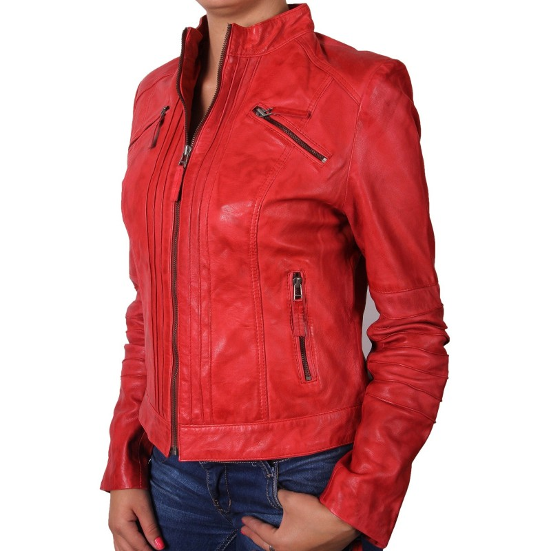 ladies red leather jacket - photo #19