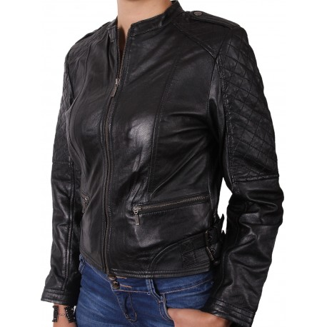 Ladies Black Leather Biker Jacket - Madisson