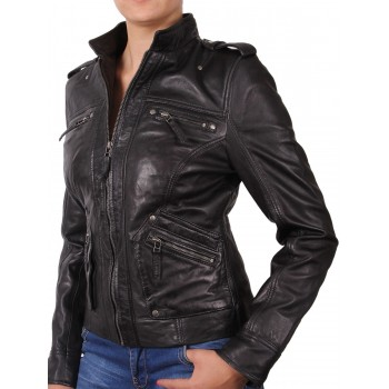 Women Black Leather Biker Jacket - Malibu