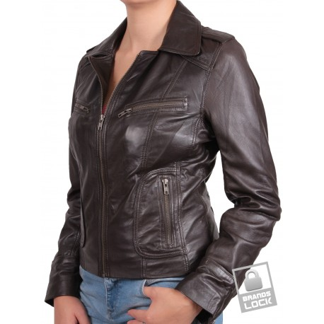 Ladies Brown Leather Biker Jacket - Kristy