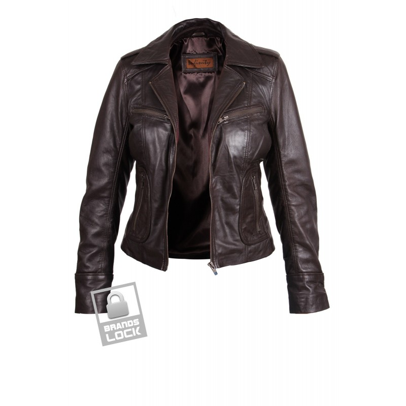 Women Brown Leather Biker Jacket - Kristy - Brandslock