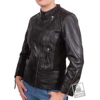 Ladies Leather Biker Jacket - Julia