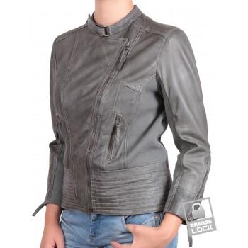 Ladies Leather Biker Jacket Grey - Julia
