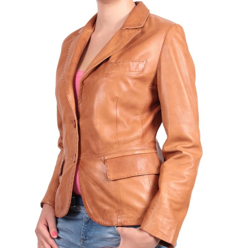 Women Tan Leather Blazer Jacket - Emely - Brandslock