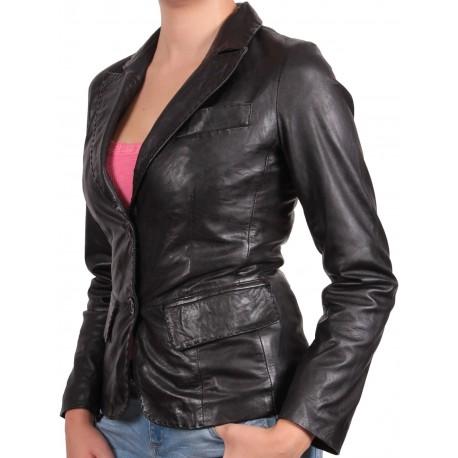 Ladies Black Leather Blazer Jacket - Emely