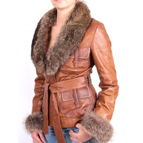 Ladies Leather Blazer Jacket - Veviene