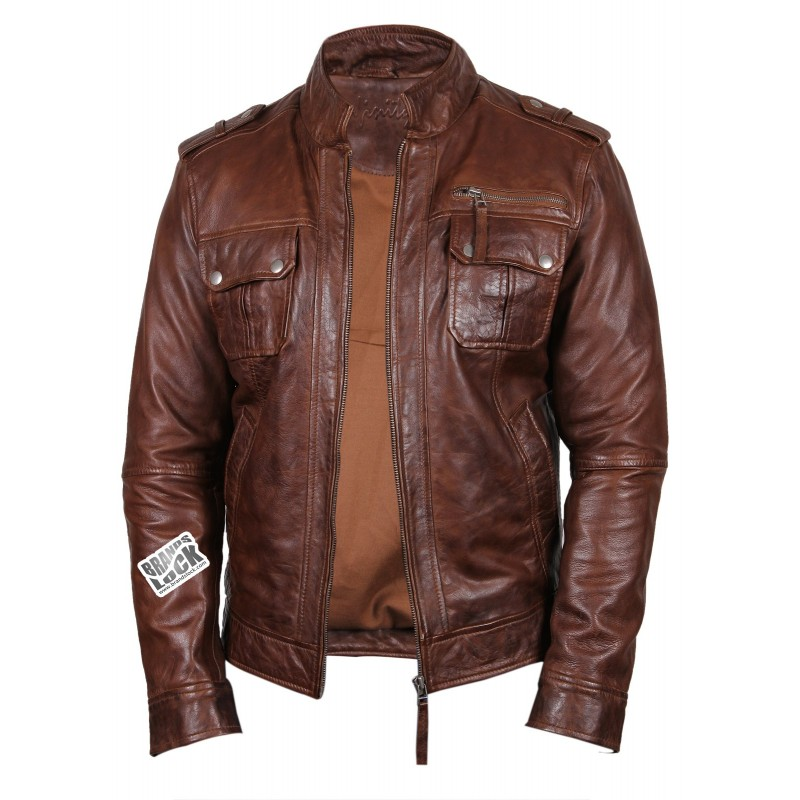 Men's Brown Leather Biker Jacket - Toredo - Brandslock