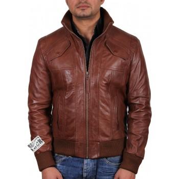Men's Brown Leather Bomber Jacket - Elliott