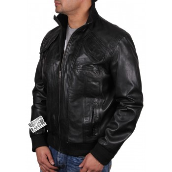 Men's Black Leather Bomber Jacket - Elliott