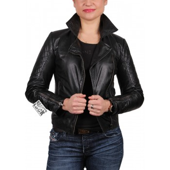 Ladies Leather Biker Jacket - Kylie