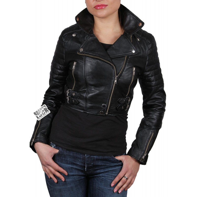 Womans leather bomber jacket