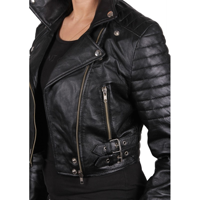 Women Black Leather Biker Jacket - Sixty - Brandslock