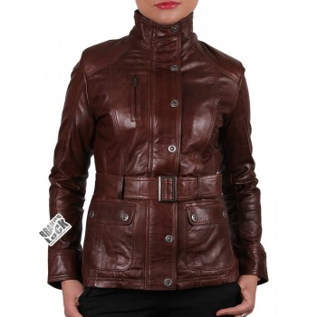 Women Brown Leather Biker Jacket - Silic