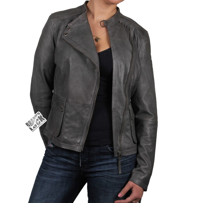 Grey leather jacket for women