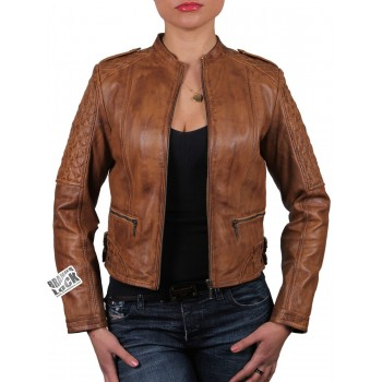 Ladies Brown Leather Biker Jacket - Madisson