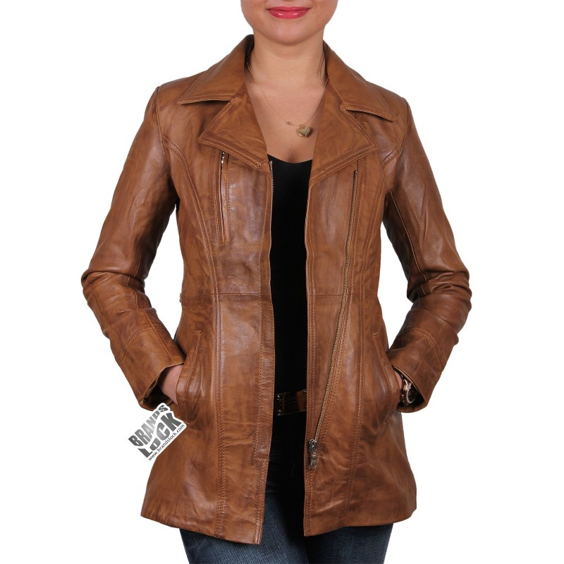 Women Tan Leather Biker Jacket - Mellisa - Brandslock
