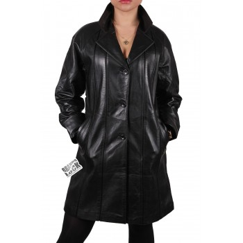 Women Black Leather Long Jacket - Oakley