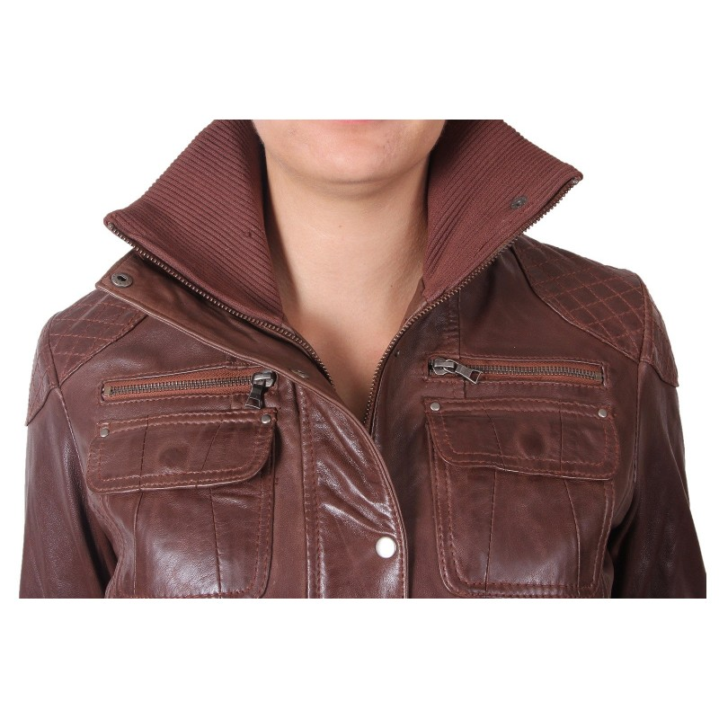 Womens brown leather bomber jacket