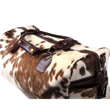 Brown and white cow hide holdall bag - Dublin