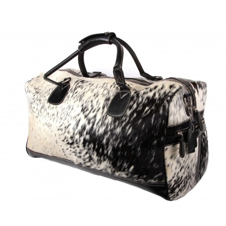 Black and White Cow Hide Leather Holdall bag - Dublin