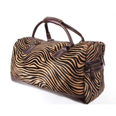 Brown Zebra Print Holdall Bag