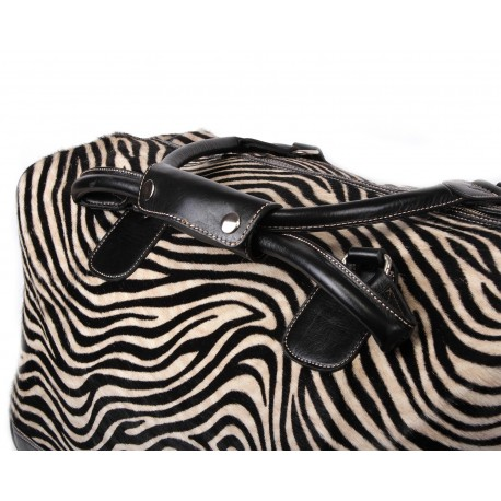 Black and White Zebra Cow Hide Leather Holdall bag