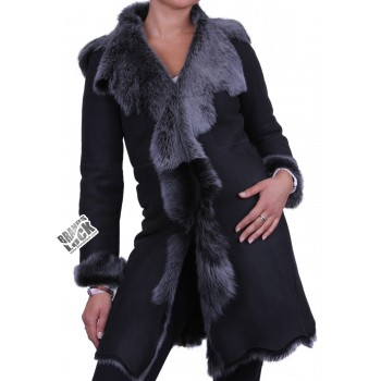 Black - Silver Toscano Sheepskin Leather Coat