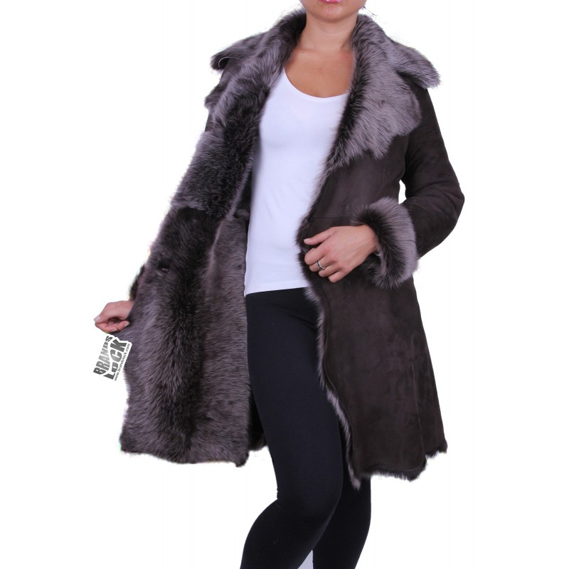 Dark Brown - Silver Suede 3/4 Toscana Sheepskin Leather Coat ...