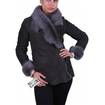 Grey Suede Short Spanish Toscana Sheepskin Leather Jacket