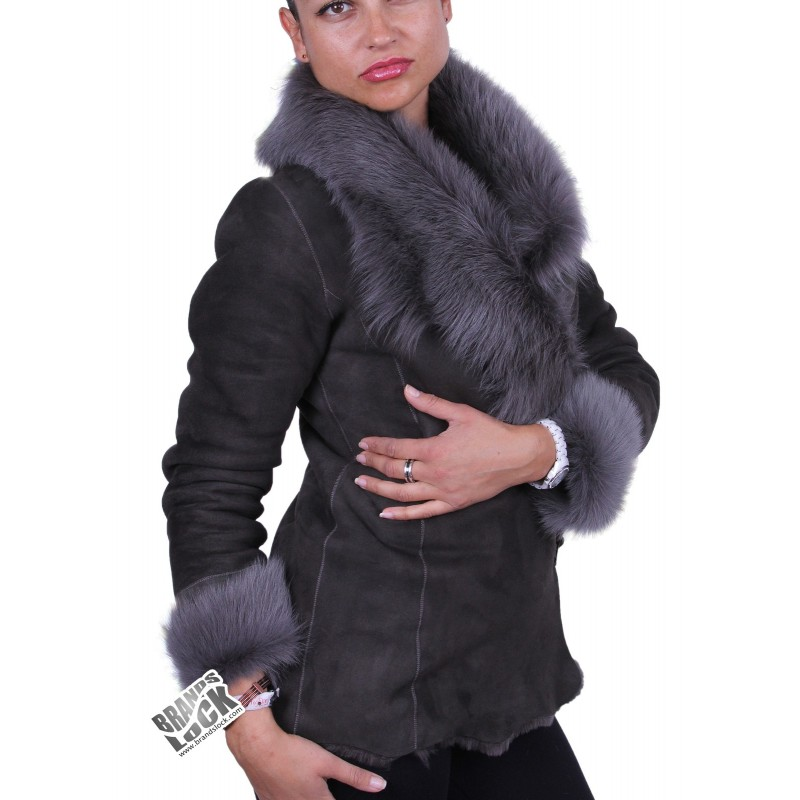 Grey Suede Short Spanish Toscana Sheepskin Leather Jacket - Brandslock