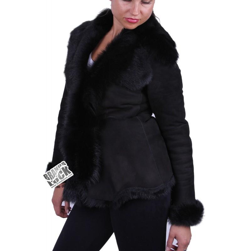 Dark Black Suede Short Spanish Toscana Sheepskin Leather Jacket ...