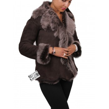 Women Brown-Silver Toscana Sheepskin Leather Fur Gilet