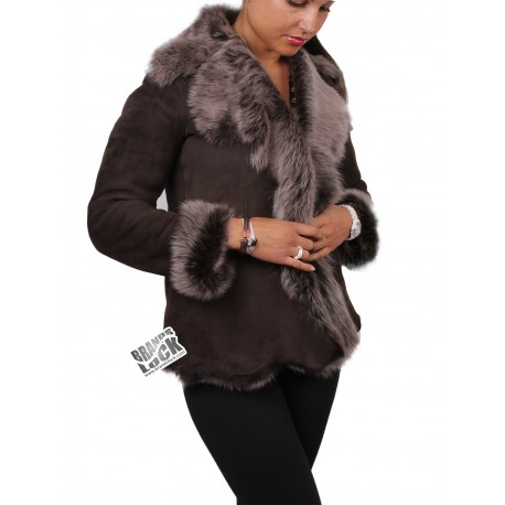 Ladies Brown-Silver Toscana Sheepskin Leather Fur Gilet