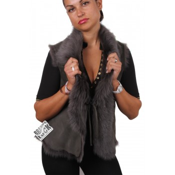 Women Grey Toscana Sheepskin Leather Fur Gilet