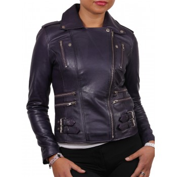 Women Purple Leather Biker Jacket - Moss
