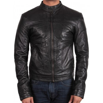 Men's Black Leather Jacket - Asasin