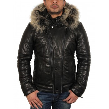 Men's Black Leather Puffer Jacket - Thunder