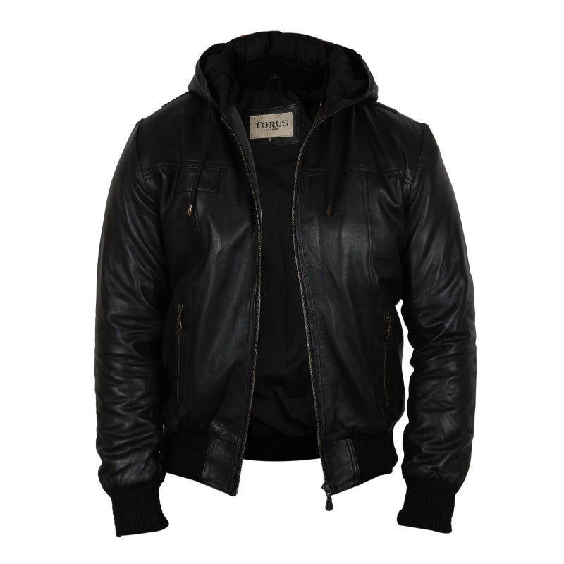 Mens Black Leather Jacket With Hood | Jackets Review