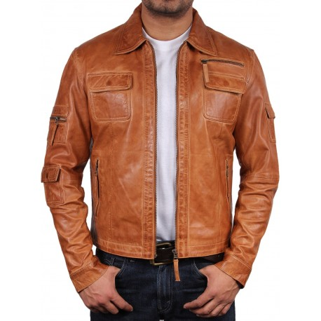 Tan Leather Jacket - Hazard