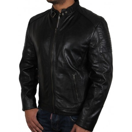 Men's Black Leather Biker Jacket - Eastwood