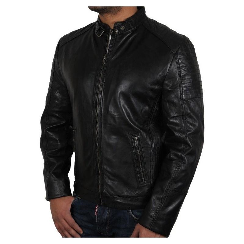 Men's Black Leather Biker Jacket