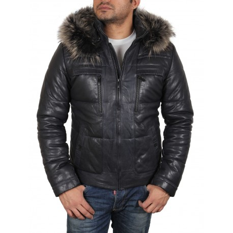 Men's Brown Leather Puffer Jacket - seal