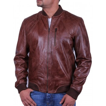Men's Brown Leather Bomber Jacket - Detroit