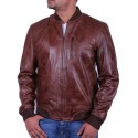 Men's Brown Leather Bomber Jacket - Detroit